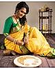 Yellow silk jacquard weaving wedding saree