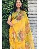 Yellow soft khadi organza floral digital printed saree