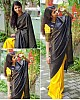 Yellow soft lichi silk golden zari jacquard weaving work saree