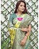 Yellow soft lichi silk jacquard jari work wedding wear saree