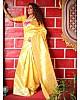 Yellow soft lichi silk jacquard weaving work wedding saree