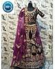Purple indian velvet heavy embroidered wedding lehenga