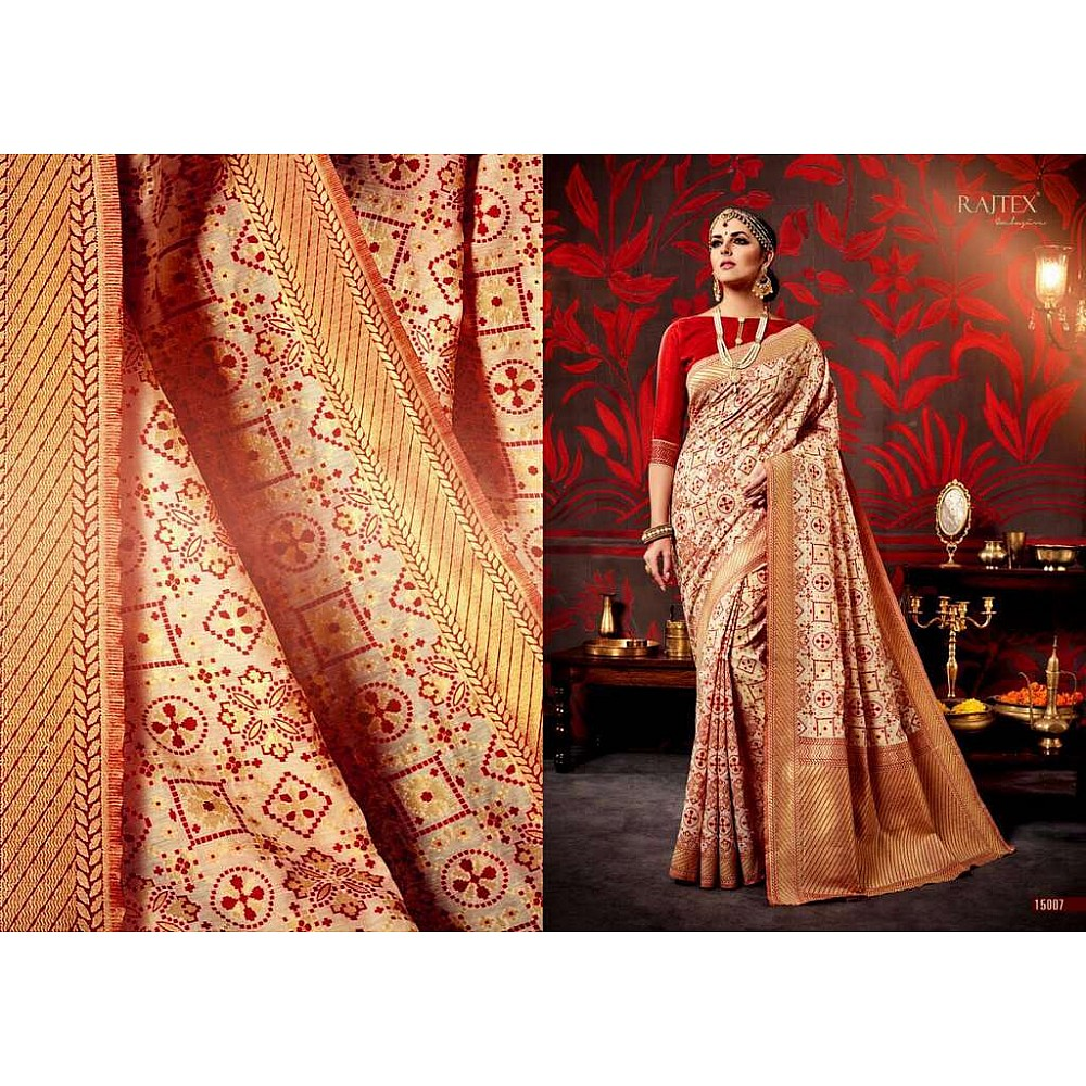 Rajtex red and cream printed silk saree