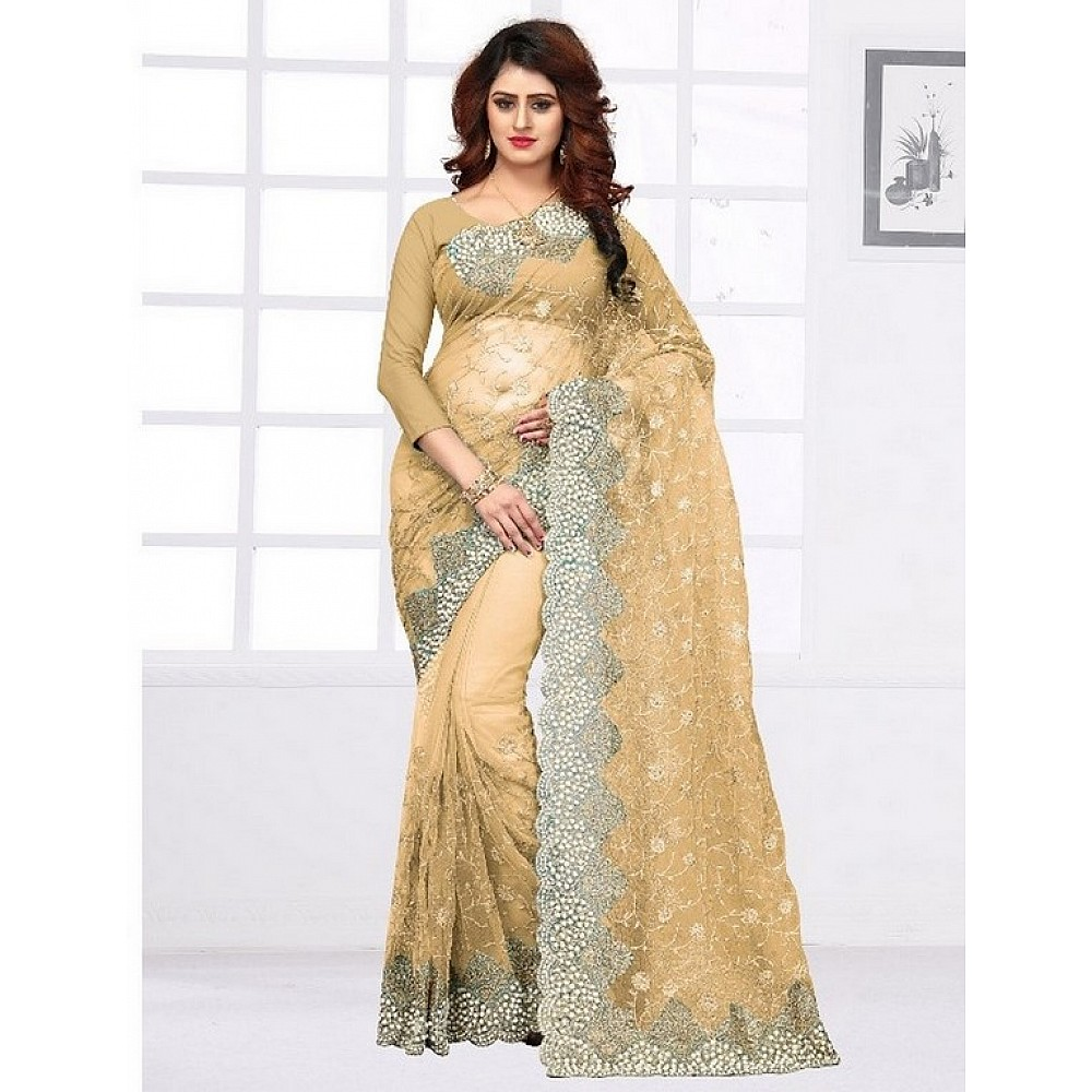 Heavy embroidered and handwork wedding saree