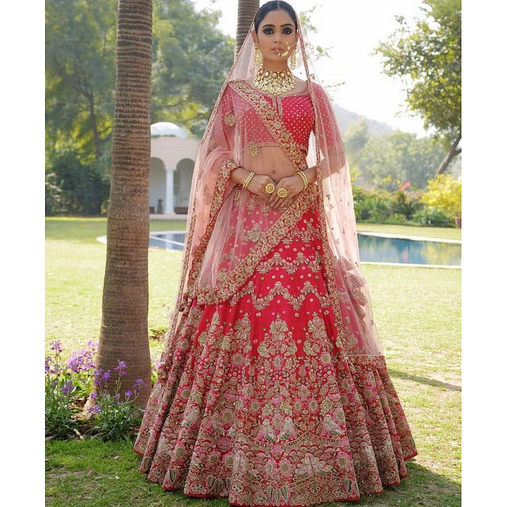 Red banarasi silk heavy embroidered bridal lehenga