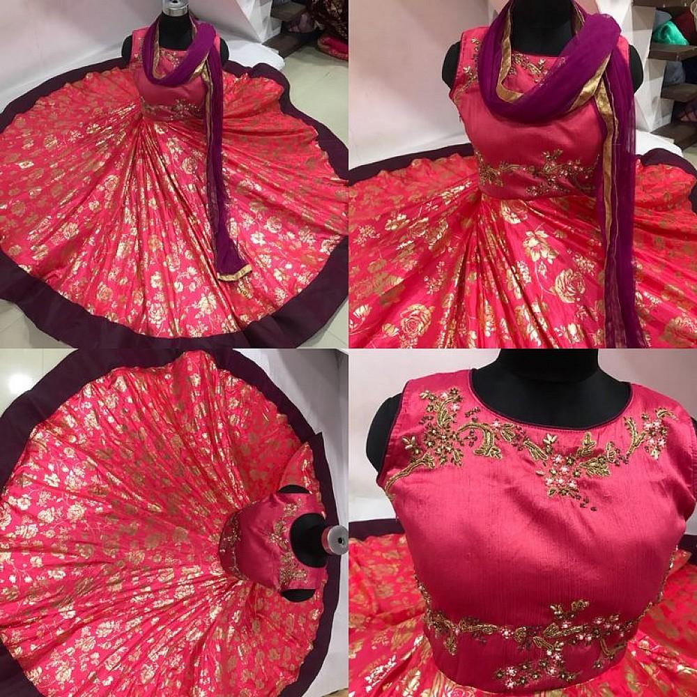 Red paper silk & phantom silk hand worked wedding anarkali suit