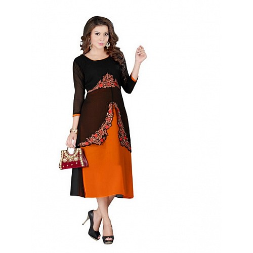 KG fashion digital print with embroidered kurti