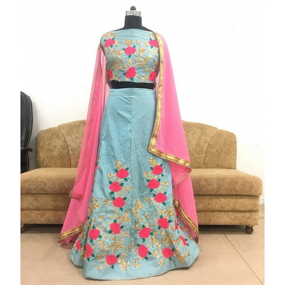 Sky blue noora silk flower embroidered wedding lehenga