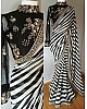 Stylist black and white strip embroidered partywear saree
