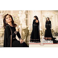 Stylist black embroidered wedding anarkali suit