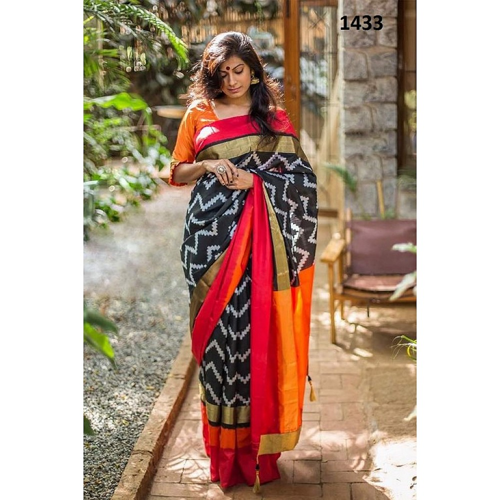 Stylist Black Printed Ceremonial Saree
