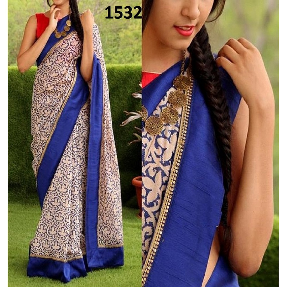 Stylist Cream & Blue Printed Any Festival Saree