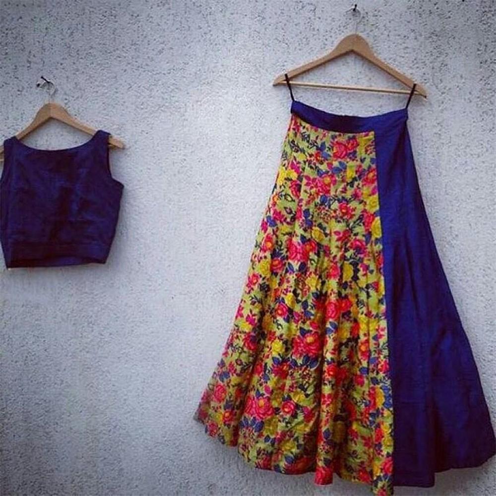 Stylist printed blue partywear lehenga