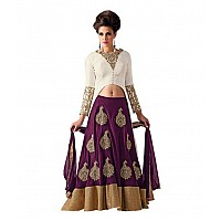 Stylist purple lehenga with white choli