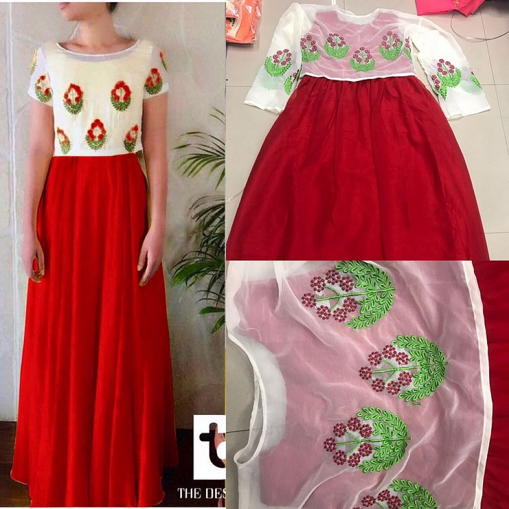 Stylist Red embroidered ceremonial Gown