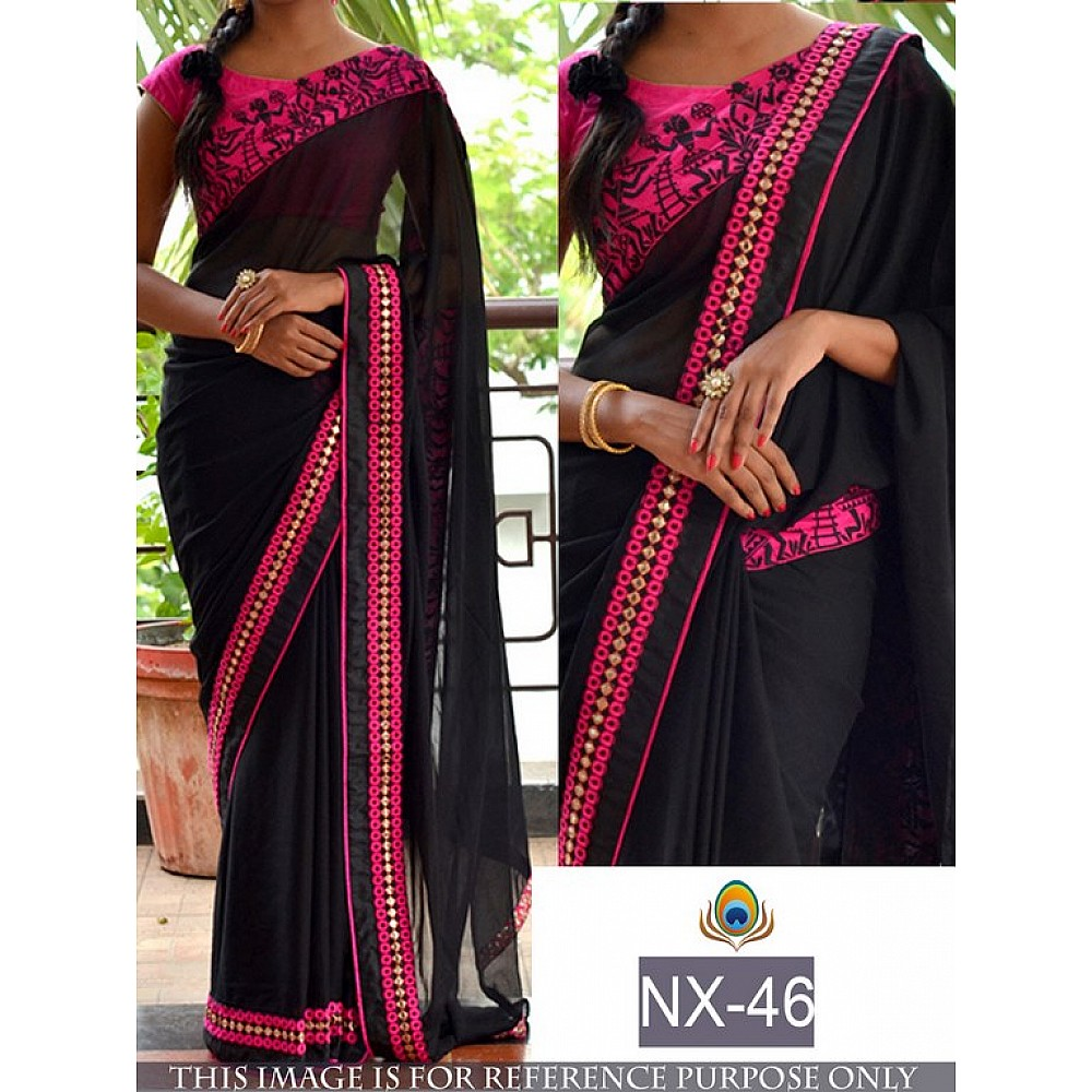 Trendy black lace work saree with pink blouse