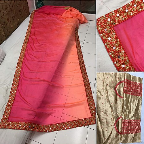trendy orange and pink embroidered saree
