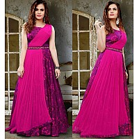 two tone satin silk digital printed heavy partywear gown