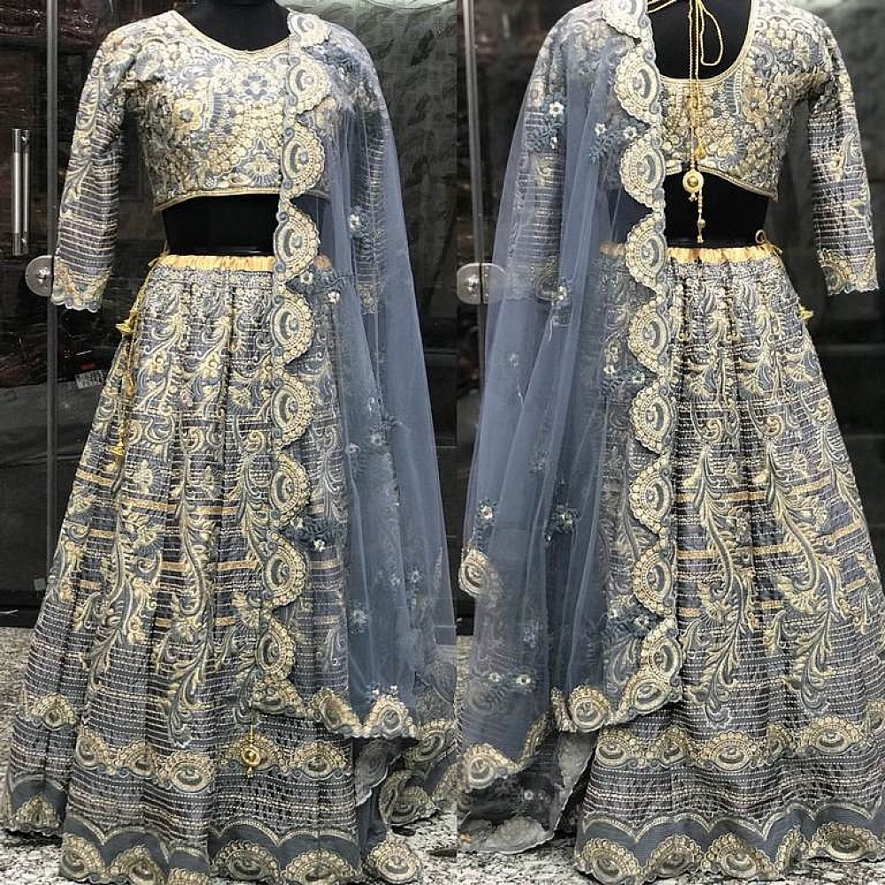 wedding grey malai satin heavy embroidered bridal lehenga