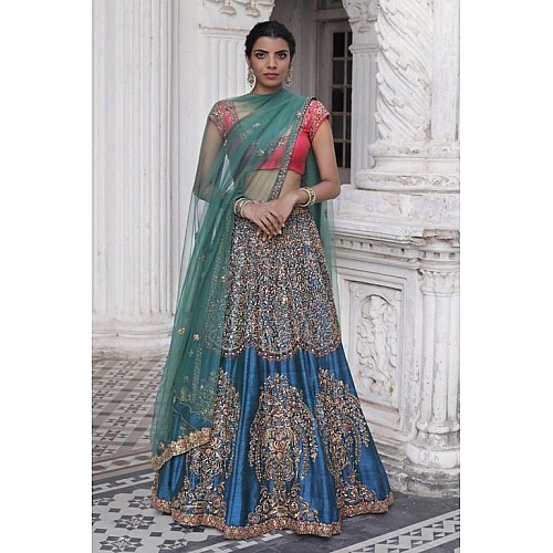 wedding wear designer heavy embroidered blue bridal lehenga