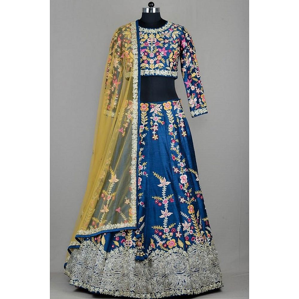 wedding wear heavy resham embroidered blue lehenga
