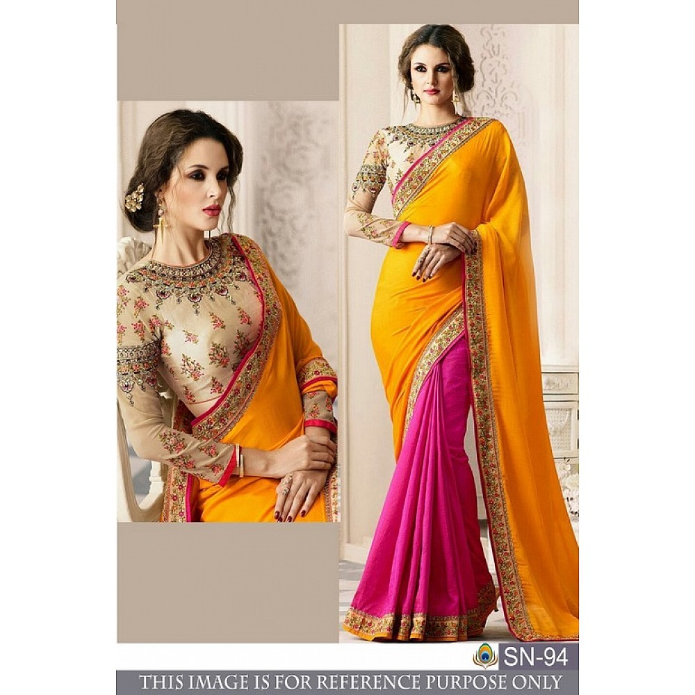 wedding wear yellow and pink half half embroidered saree