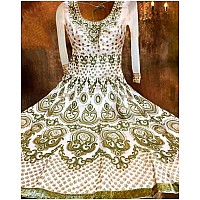 White banglori silk heavy embroidered wedding anarkali suit