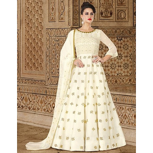 White georgette embroidered wedding anarkali suit