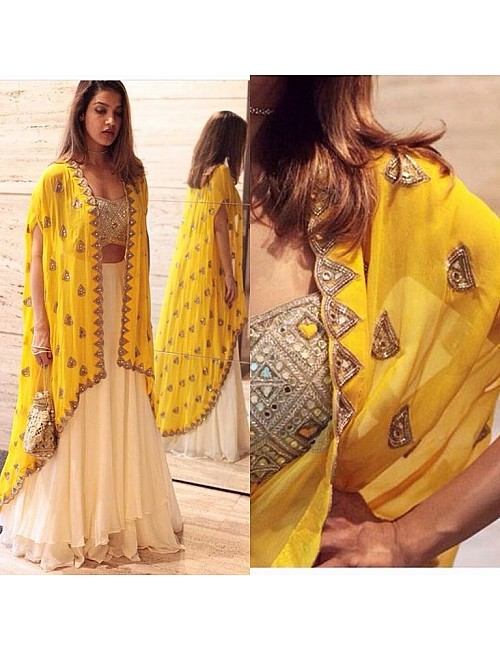 White georgette lehenga with mirror work shrug and blouse